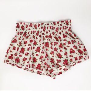 FOREVER 21 Flowy Floral Rose Print Shorts Medium